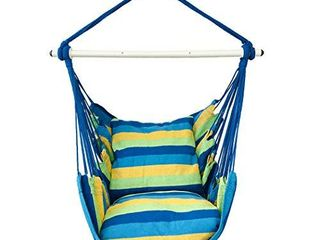 Highwild Hanging Rope Hammock Chair Swing Seat for Any Indoor or Outdoor Spaces   500 lbs Weight Capacity   2 Seat Cushions Included  Blue   Green