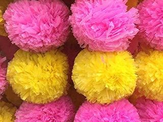 DECORATION CRAFT Pack of 5 Artificial Yellow and Pink Marigold Flower Garlands 5 Feet long  for Parties  Indian Weddings  Indian Theme Decorations  Home Decoration  Photo Prop  Diwali  Indian Festival