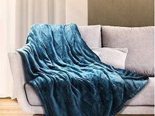 Sable Heated Blanket Electric Throw  50  x 60  Full Body Size Fast Heating Blankets Flannel  10 Heating levels 3 Hours Auto Off ETl Certified Machine Washable  Blue   SA BD038