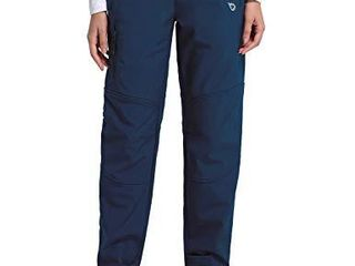 BAlEAF Women s Hiking Fleece lined Ski Pants Windproof Water Resistant Outdoor Insulated Soft Shell Deep Blue M