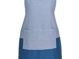 Sticky Toffee Cotton Women s Cooking Apron  Blue Medallion with Ruffle Skirt  Adjustable Tie  34 in x 34 in