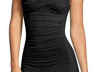 Sovoyontee Women s One Piece Tummy Control Swimwear Boyleg Ruched Swimsuit Black Xl