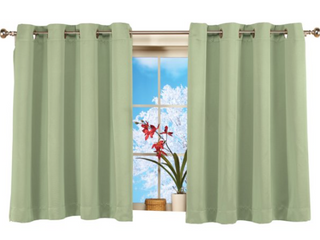 MYSKY HOME Kitchen Curtains 45 Inch length Tier Valances Blackout Window Drapes Rod Pocket Thermal Insulated Blackout Curtains 42  x 45 Set of 2 Panels Apple Green