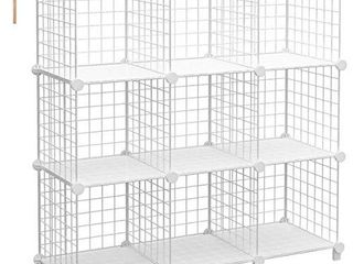 TomCare Cube Storage 9 Cube Metal Wire Cube Organizer Storage Cubes Shelves Shelves Organizer DIY Bookshelf Closet Organizer Cube Shelves Storage Shelves for Bedroom Home Office  White
