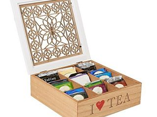 MIND READER Tea Bag Sorter and Organizer  Wooden Floral Pattern   9 Compartments  Teabag or Coffee Caddy  Sugar Packets and Other Condiments Holder  and Storage Chest Box  BROWN WHITE