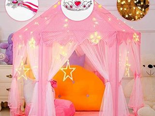 Wilhunter Princess Castle Play Tent Fairy Kids Play Tent with Star lights Pink large Playhouse Toys Gift for Girls Indoor   Outdoor Play