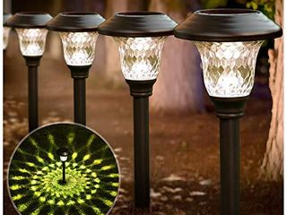BEAU JARDIN 8 Pack Solar lights Bright Pathway Outdoor Garden Stake Glass Stainless Steel Waterproof Auto On Off White Wireless Sun Powered landscape lighting for Yard Patio Walkway Spike Bronze