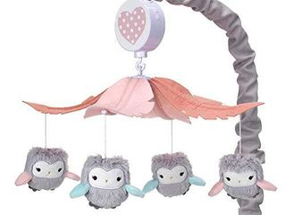 lambs   Ivy Sweet Owl Dreams Gray Pink Musical Baby Crib Mobile Soother Toy
