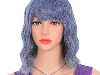 CEBEllA Short Wavy Bob Curly Wigs Colored Cosplay Costume Wig Mix Blue Wig with Bangs Party Wigs for Women Girls Synthetic Hair Colorful Costume Wigs  12in  Mix Blue