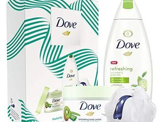 Dove Cucumber and Green Tea Body Wash 12oz and Kiwi and Aloe Scrub 10 5oz Gift Set 2 Count