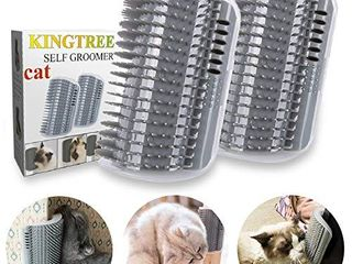 Kingtree Cat Self Groomer  2 Pack Cats Corner Groomers Soft Wall Corner Massage Combs Grooming Brush Perfect Massager Tool for long Short Fur Cat Puppy   Grey