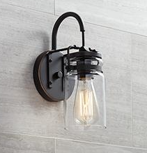 Bathroom Vanity light Wall mount Sconce Clear Glass Jar Shade Up down lighting