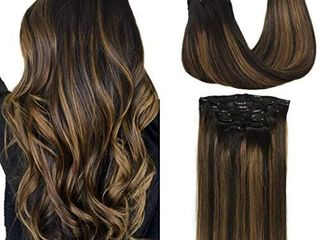 GOO GOO Human Hair Extensions Clip in Ombre Natural Black to Chestnut Brown Balayage Clip in Hair Extensions Remy Human Hair Real Natural Hair Extensions 7 Pieces 120g 18 inch