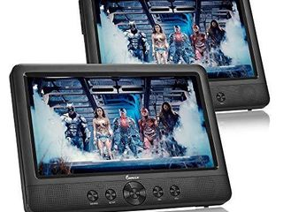 IMPECCA DVD Player  Portable Dual Screen DVD Player 7  for Car Headrest or Home with USB  SD Card Reader  Rechargeable Battery  Memory Function  Two Screens Play One Movie