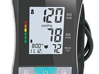 HealthSmart Blood Pressure Monitor for Upper Arm with Clinically Accurate Talking lCD Screen and includes Standard Size Cuff  Black