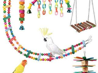ShellKingdom Parrot Toys Bird Hanging Wooden ladder and Bird Hammock Chew Perches Cage Finch Toy with Bells for Bird Macaws Cockatiels Parakeets African Grey Parrot lorikeets Conures