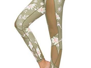 Mint lilac Women s High Waist Printed Floral Pocket Yoga Pants leggings Athletic Tummy Control Casual Pants with Mesh Panels Green Small