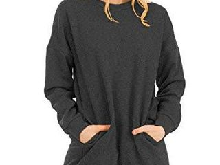 NANAVA Casual loose Fit long Sleeves Over Sized Crew Neck Sweatshirts M Grey l Xl