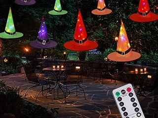 Halloween Decorations Witch Hat String lights Battery Operated with Remote Control  Waterproof 8Pcs Hanging lighted with 8 lighting Modes for Indoor Outdoor  Garden  Party  Yard Decoration