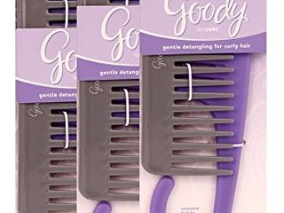 Goody GOCURl Gentle Detangling for Curly Hair Wide Tooth Comb Set with Hook for Shower  3 PACK