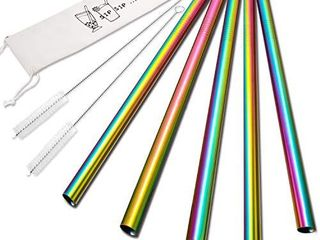 5 Pcs 10  Reusable Smoothie Straws   Milkshake Straws   Rainbow Colors  0 35  Wide Stainless Steel Straws  Metal Straws for Smoothies  Milkshakes  Jumbo Drinks   2 Cleanning Brushes   1 Case