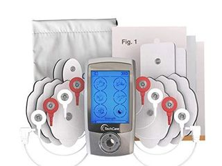 TechCare Pro TENS Unit 24 Modes Best Portable Massager Back Neck Stress Sciatic Pain  Handheld Full Body Palm Plus Digital Pulse Impulse Professional Micro Massager  Silver