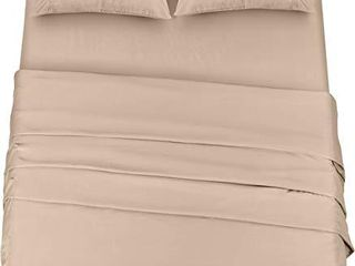 Utopia Bedding Bed Sheet Set   4 Piece Cal King Bedding   Soft Brushed Microfiber Fabric   Shrinkage   Fade Resistant   Easy Care  Cal King  Beige