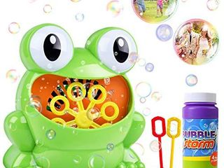 HOMOFY Bubble Machine for Kids Automatic Bubble Maker 500 Bubbles per Minute with Bottle Durable Solution   2 Hand Bubble Wands Gifts Toys for 2 3 4 5 Year Old Boys Girls Kids Outdoors Party Wedding