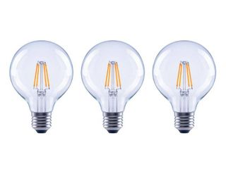 EcoSmart 60 Watt Equivalent G25 Globe Dimmable ENERGY STAR Clear Glass Filament Vintage Style lED light Bulb Daylight  3 Pack