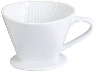 HIC Harold Import Co  Kitchen Filter Cone  Fine White Porcelain  Number 4 Size  Brews 8 to 12 Cups