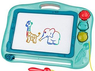 Gamenote Magnetic Drawing Board for Kids 12x16 inch   Writting Board for Toddlers Comes with Adorable 3 Stamps  Magnet Pen  Gifts for Toddlers Kids Colorful Erasable Magnet Writing Sketching Pad Blue
