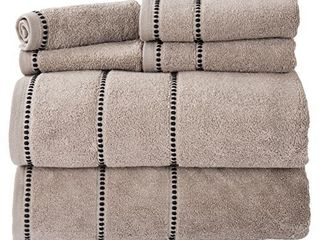 luxury Cotton Towel Set  Quick Dry  Zero Twist and Soft 6 Piece Set With 2 Bath Towels  2 Hand Towels and 2 Washcloths By lavish Home  Taupe   Black
