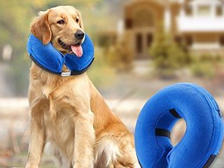 BENCMATE Protective Inflatable Collar for Dogs and Cats   Soft Pet Recovery Collar Does Not Block Vision E Collar  large  Blue