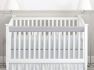 habibee Baby Crib Rail Cover 1 Pack Cotton Padded Reversible Protector Safe Teething Guard Wrap for long Front Crib Rails  Gray