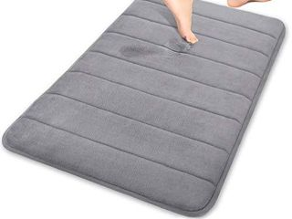 Yimobra Memory Foam Bath Mat large Size 31 5 by 19 8 Inches  Soft and Comfortable  Super Water Absorption  Non Slip  Thick  Machine Wash  Easier to Dry for Bathroom Floor Rug  Gray