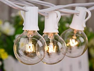 25Ft String lights  G40 Outdoor Patio String lights with 27 Clear Globe Edison Bulbs  2 Spare  Globe String lights for Indoor Outdoor Commercial Decor  25 Hanging Sockets  5 Watt E12 Base  White Wire