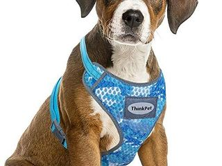 ThinkPet Reflective Breathable Soft Air Mesh No Pull Puppy Dog Vest Harness Camouflage Blue Neck 13 20 in Chest 18 30 in