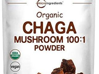 Sustainably Maine Grown  Wild Harvest Organic Chaga Mushroom Extract 100 1 Powder  6 Ounce  170 Grams  for Immune System and Energy  Superfood for Beverage and Smoothie  Vegan Friendly