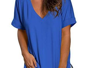 SAMPEEl Womens Short Sleeve Deep V Neck Shirts Summer Tunic Tops High low Tees Blue M