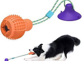 KlOMIER Dog Chew Toys for Aggressive Chewers Puppy Dog Teething Puzzle Treats Ball Toys for Boredom Chews Durable Rubber Interactive Tug Dog Toys with Strong Suction Cup Power for large Small Dogs