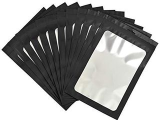 100 pack resealable mylar ziplock bags with front window Smell Proof bag packaging pouch bag for lip gloss eyelash cookies sample food jewelry electronics  flat cute Black  5 12x8 27 inches