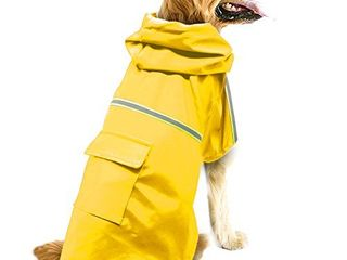 okdeals Dog Raincoat leisure Waterproof lightweight Dog Coat Jacket Reflective Rain Jacket with Hood for Medium Dogs Yellow M