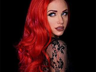 N T long Red Wavy Wigs for Women Synthetic Hair Curly Wig Cosplay for Girls Middle Part Fashion Christams Gift Wig