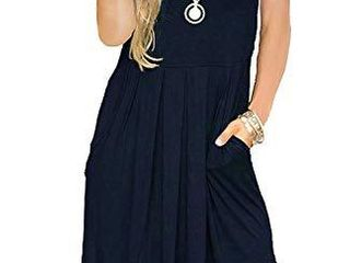 AUSElIlY Women s Solid Plain Pockets Sleeveless Casual Swing loose Tshirt Dress Indigo Navy Blue M