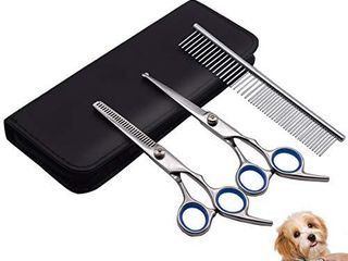 PetQoo Dog Grooming Scissors with Safety Round Tips  Heavy Duty Titanium Pet Grooming Trimmer Kit  Professional Thinning Shears  Straight Scissors with Comb for large and Small Dogs and Cats