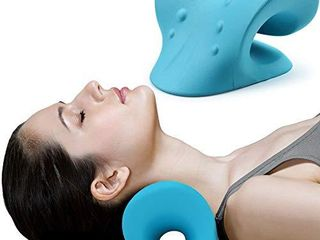 Neck and Shoulder Relaxer  Cervical Traction Device for TMJ Pain Relief and Cervical Spine Alignment  Chiropractic Pillow Neck Stretcher Blue