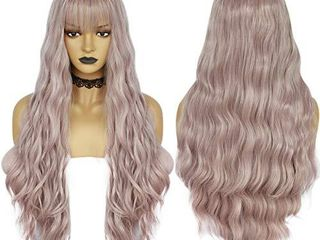Anogol Hair Cap long Body Wave Wigs Ombre Synthetic Wigs with End Blonde Wig with Bangs for lolita Wigs