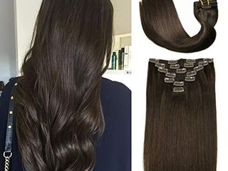 Clip In Hair Extensions Human Hair New Version Thickened Double Weft Brazilian Hair 120g 7pcs Per Set 9A Remy Hair Dark Brown Full Head Silky Straight 100  Human Hair Clip In Extensions 20 Inch  2