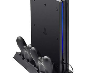 FASTSNAIl Vertical Stand Compatible with PS4 Pro with Cooling Fan  Controller Charging Station Compatible with Playstation 4 Pro  Charger for DualShock 4 Controllers with lED Charging Indicator