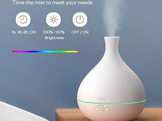 Essential Oil Diffuser  Anjou 500ml BPA Free Cool Mist Humidifier Aromatherapy Auto Shut Off Diffuser  Adjustable Mist Mode  7 Color lED light for 12hrs of Continuous Quiet Diffuser Aroma  White